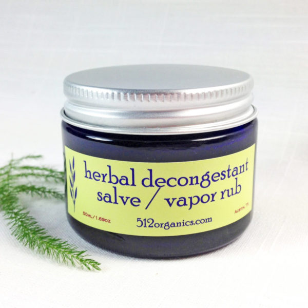 512organics jar of herbal decongestant salve front label with fern