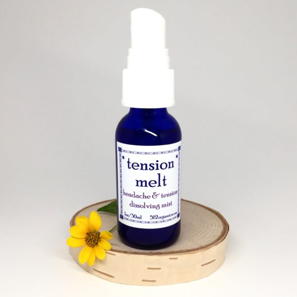 bottle of 512organics Tension Melt aromatherapy essential oils for tension headaches and stress relief